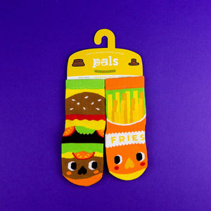 A Pair of Pals Socks 1-3 Years - Burger & Fries