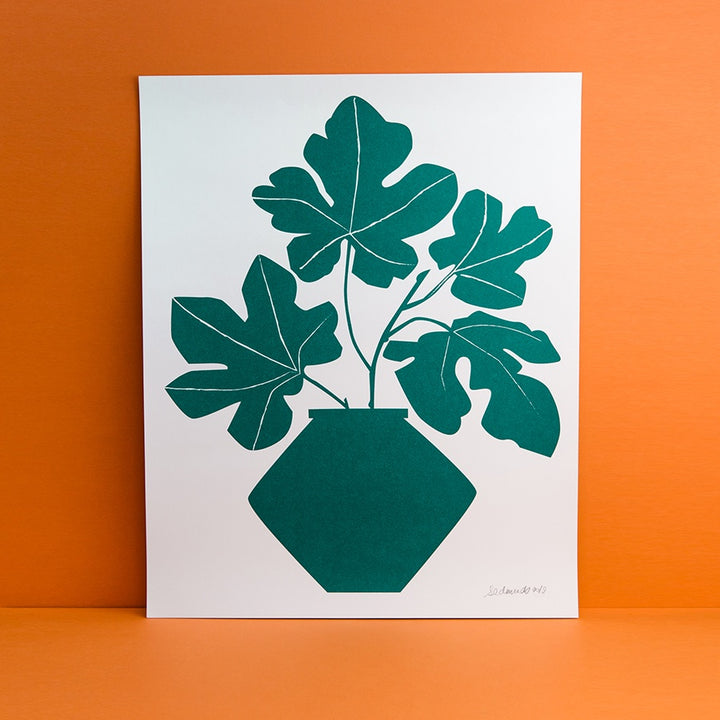 Print of a ficus plant in green