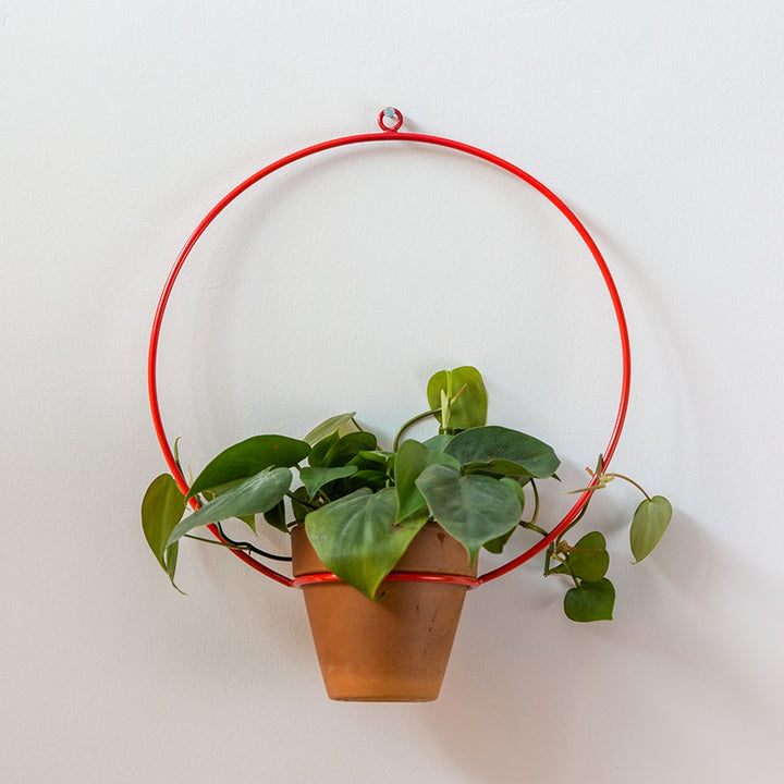 "Circle Hanging Planter 10"" - Red"