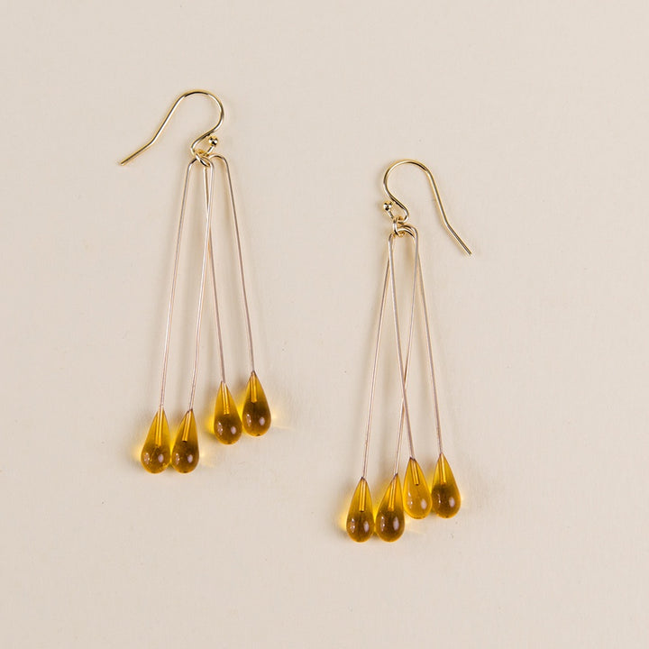 Long Lustre Earrings - Gold
