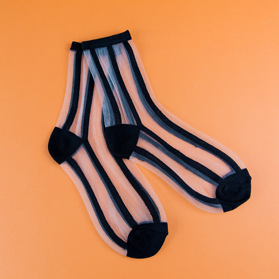 Poketo Sheer Socks - Black Lines