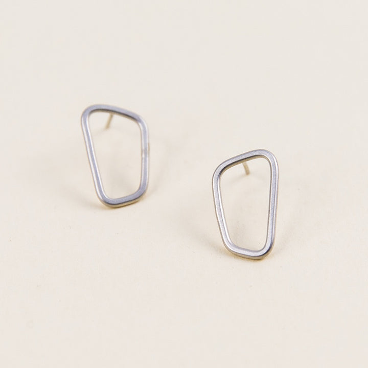 Rectangle Stud Earrings - Silver