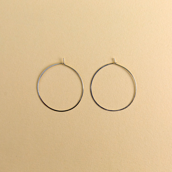 Large Round Hoops - Silver