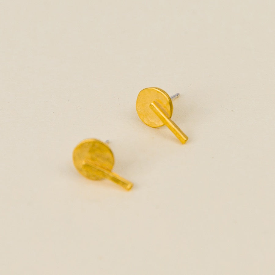 Disc Line Stud Earrings - Vermeil