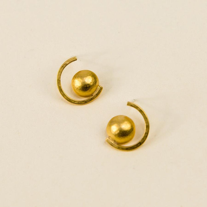 Dome Curve Post Earrings - Vermeil