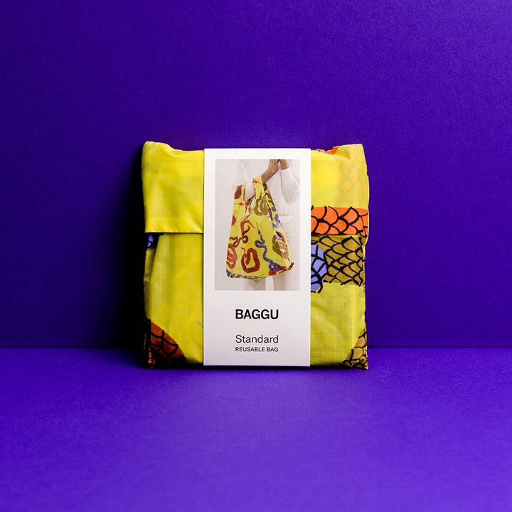Baggu in storage pouch, Yellow Snakes print
