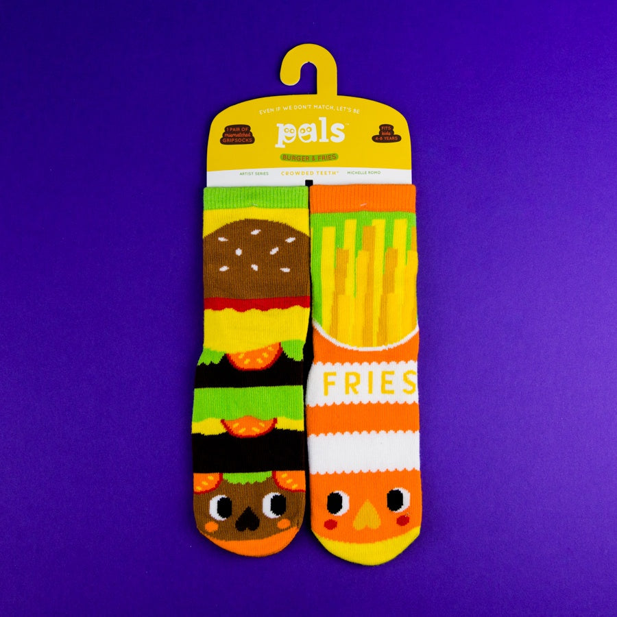 A Pair of Pals Socks 4-8 Years - Burger & Fries