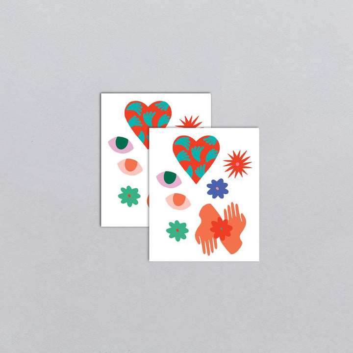 Tattly Pair - Heart Flower Eyes temporary tattoos
