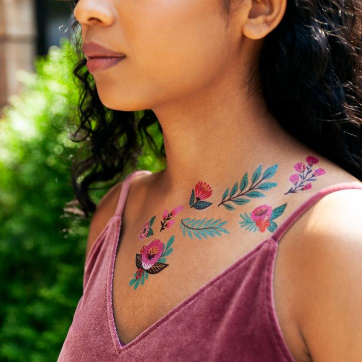 Tattly Temporary Tattoo Sheets - Flower Garden (on model)