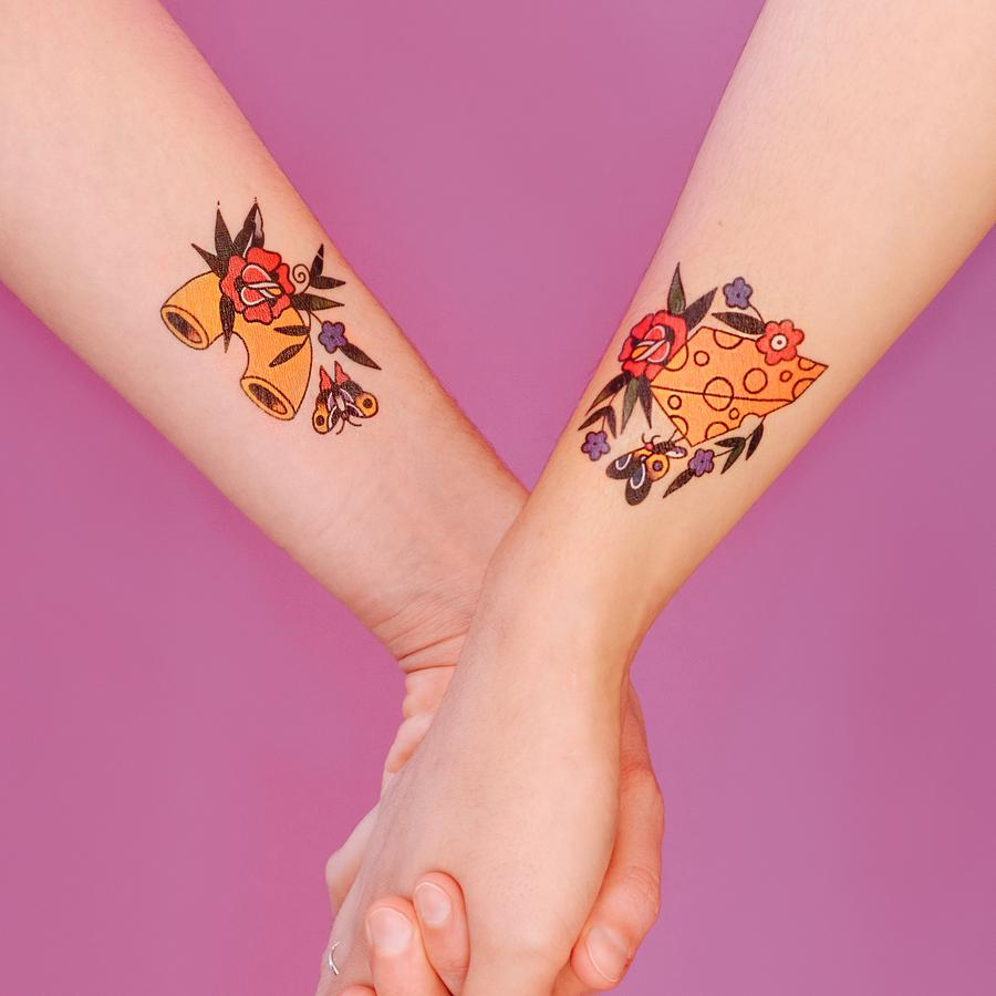 Tattly Pair - Mac and Cheese temporary tattoos on models