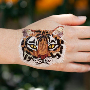 Tattly Temporary Tattoo Pairs - Stitched Tiger (on model)