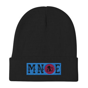 MNQE Brand Beanie - Teal/Pink