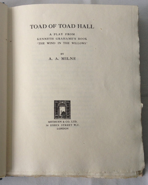 AA Milne; Kenneth Grahame - Toad of Toad Hall - Signed Limited - 1929