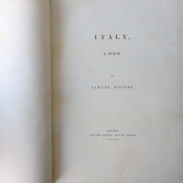 Samuel Rogers - Italy - UK Large Paper 1838 Full Leather by Hayday