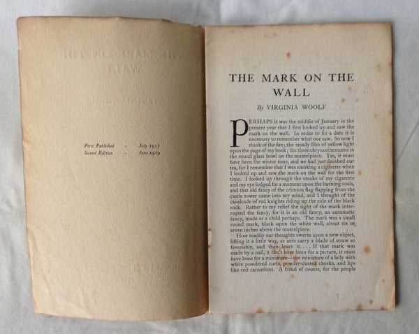 Virginia Woolf - The Mark on the Wall UK 2nd 1919