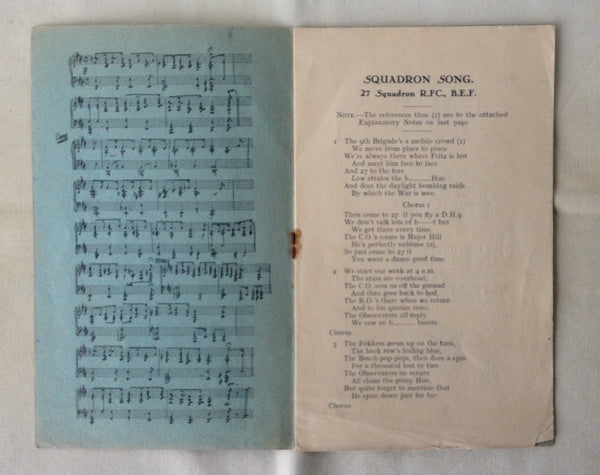 No.27 Squadron Royal Flying Corps - Song Book - c.1915