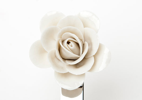 Glazed camellia (Centenary Stainless Steel collection)