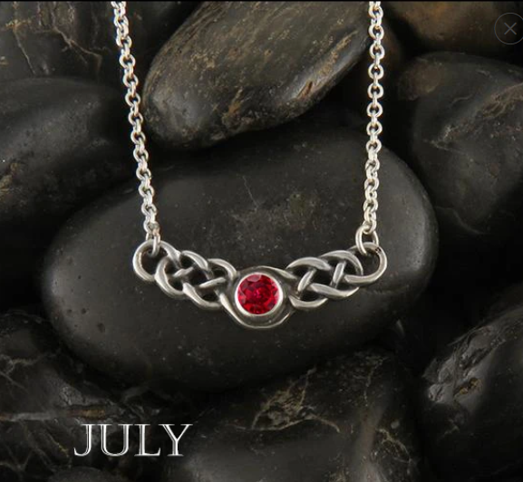 Walker Metalsmith's Celebrates July Birthdays with Our Simulated Ruby Birthstone Celtic Jewelry