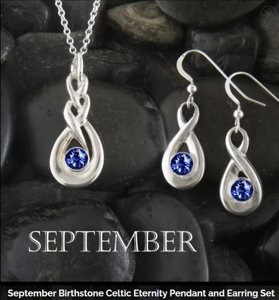 Celebrate September with Walker Metalsmiths Simulated Sapphire Birthstone Celtic Jewelry
