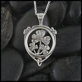 Sterling silver shamrock shield pendant