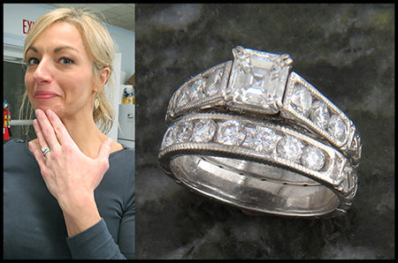 Chelsea models her new Celtic wedding rings.
