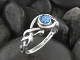 Walker Metalsmiths March birthstone Celtic ring