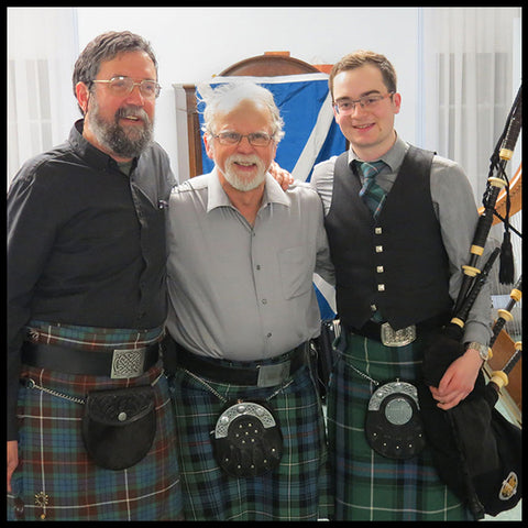 Steve Walker, Mark Cushing and Andrew Hutton pose for a picture at the 2017 Burns Supper.