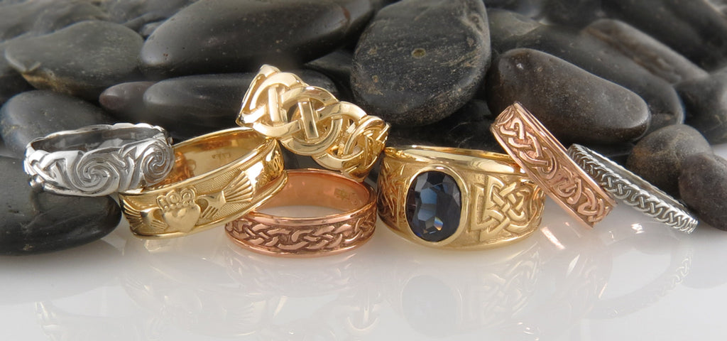 Celtic Rings in sterling silver and gold