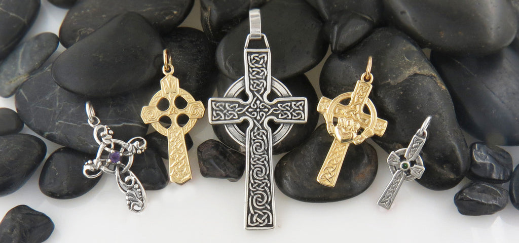 A few of Walkers Celtic Jewelry's finely crafted Celtic Crosses in silver and gold.
