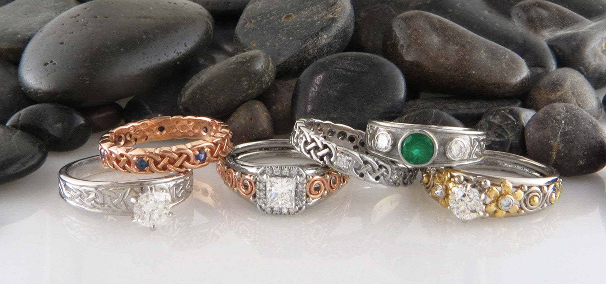 Celtic Engagement Rings Handcrafted in 14K Gold with Diamonds