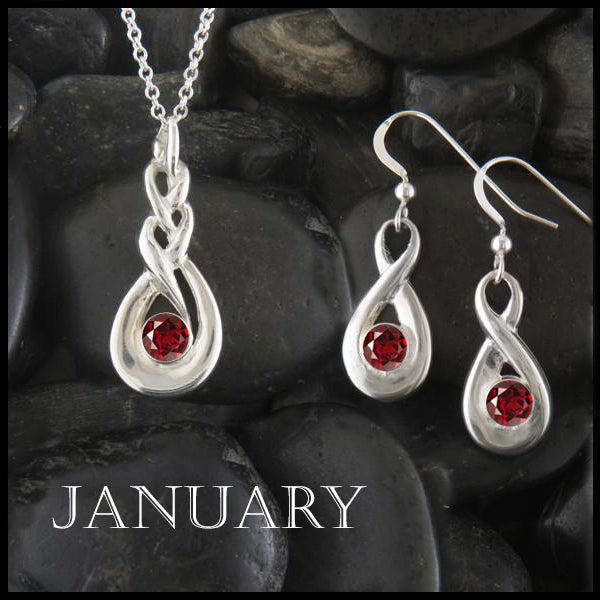 January Birthstone Celtic Eternity Pendant and Earring Set