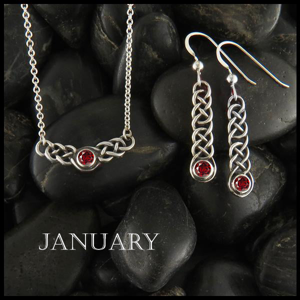 February Birthstone Celtic Love Knot Necklace and Earring Set in Silver