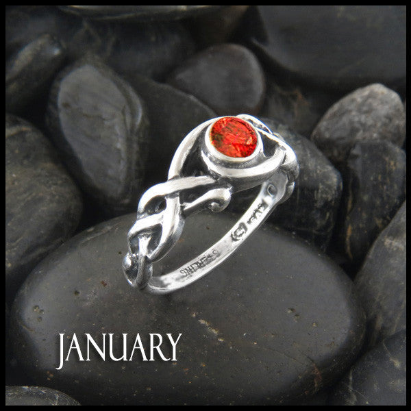 January Birthstone Celtic Ring in Sterling Silver