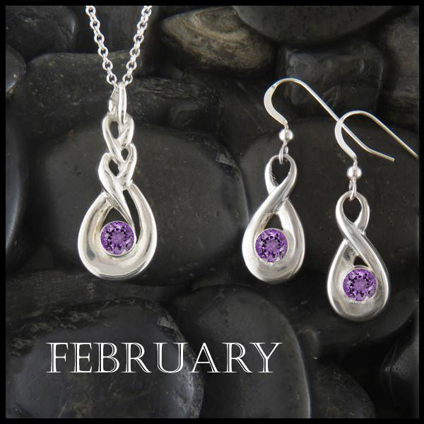 February Birthstone Celtic Eternity Pendant and Earring Set