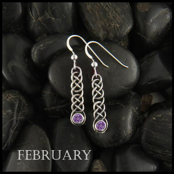 February Birthstone Celtic Love Knot Earrings in Silver