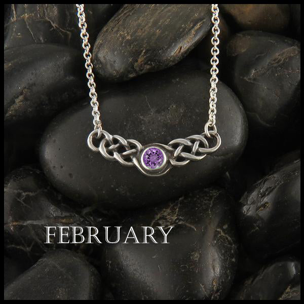 February Birthstone Celtic Necklace in Silver