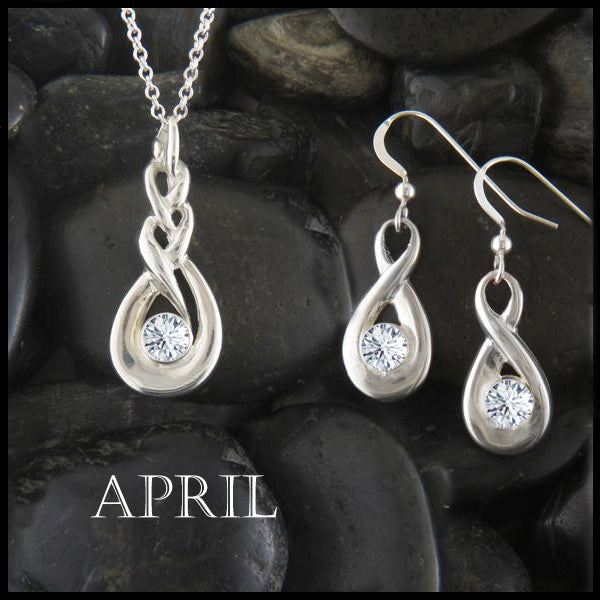 April Birthstone Celtic Eternity Pendant and Earring Set