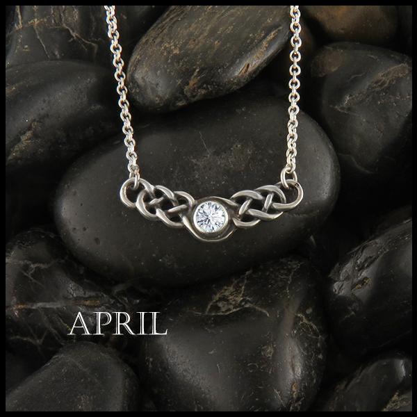 April Birthstone Celtic Necklace in Silver