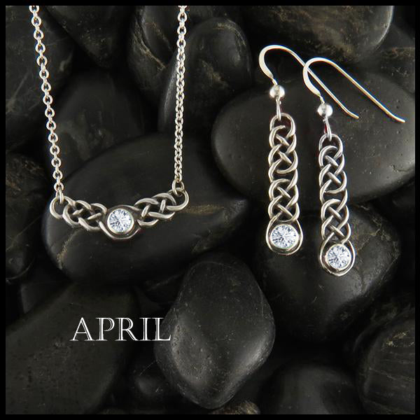 April Birthstone Celtic Love Knot Necklace and Earring Set in Silver