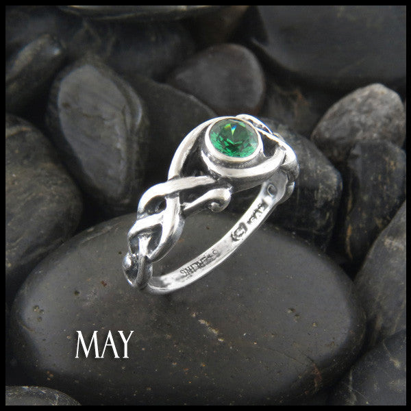 May Birthstone Celtic Ring in Sterling Silver