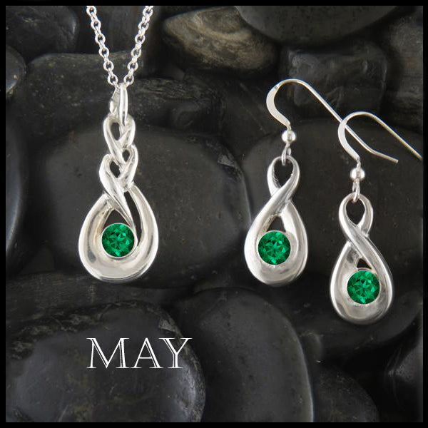 May Birthstone Celtic Eternity Pendant and Earring Set