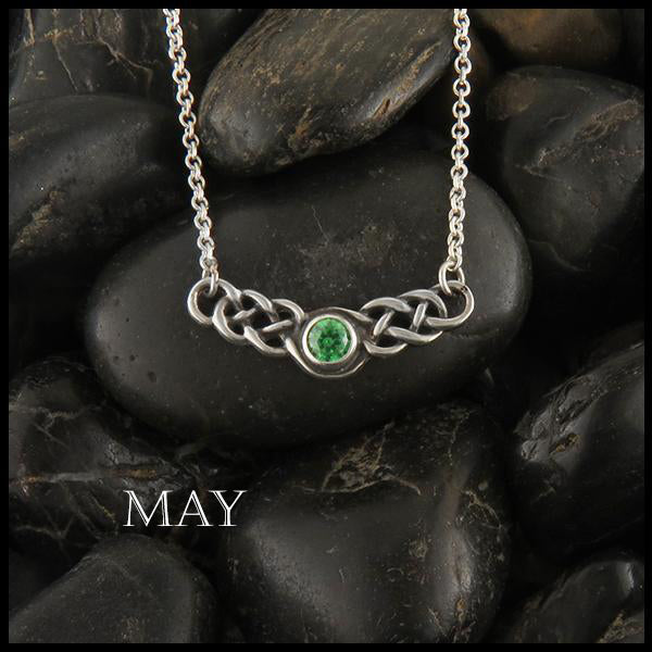 May Birthstone Celtic Necklace in Silver