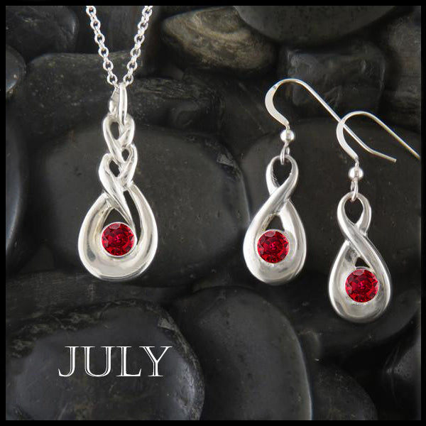 July Birthstone Celtic Eternity Pendant and Earring Set