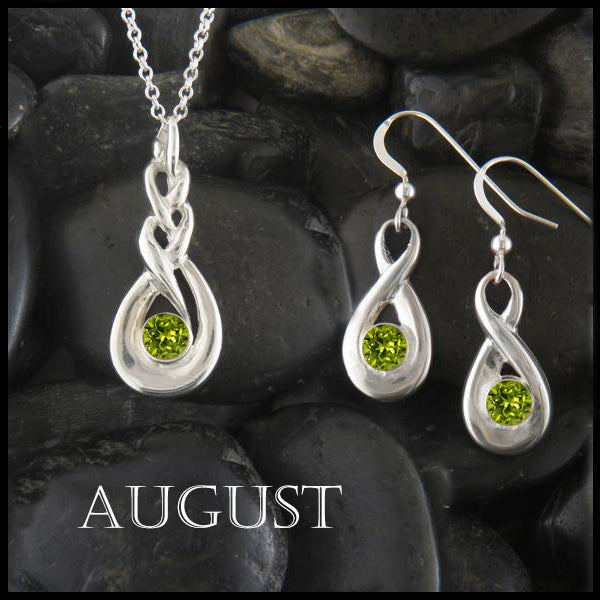 August Birthstone Celtic Eternity Pendant and Earring Set