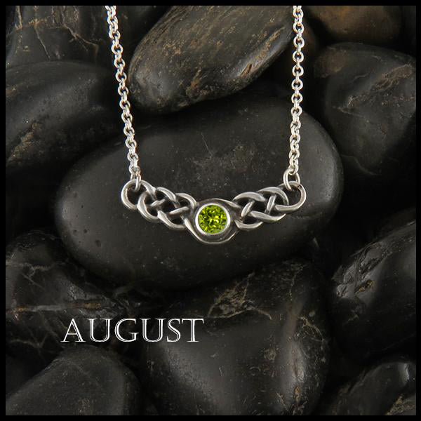 August Birthstone Celtic Necklace in Silver