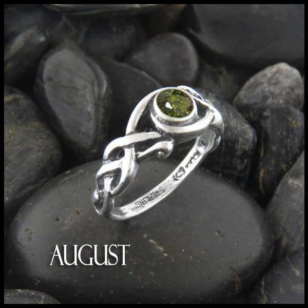 August Birthstone Celtic Ring in Sterling Silver