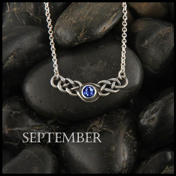 September Birthstone Celtic Necklace in Silver