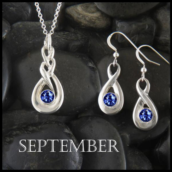 September Birthstone Celtic Eternity Pendant and Earring Set