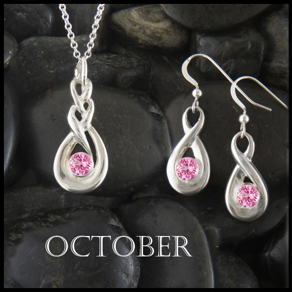 October Birthstone Celtic Pendant and Earring Set