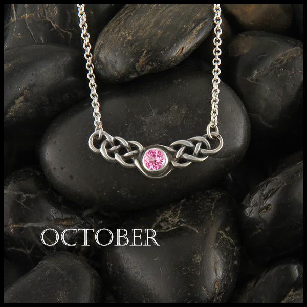 October Birthstone Celtic Necklace in Silver